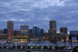 Inner Harbor of Baltimore at cloudy dawn